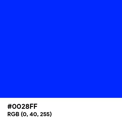 Blue (RYB) (Hex code: 0028FF) Thumbnail