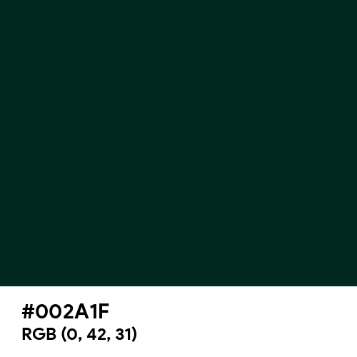 Dark Green (Hex code: 002A1F) Thumbnail