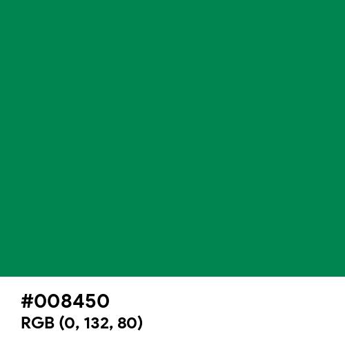 Traffic Green (Hex code: 008450) Thumbnail