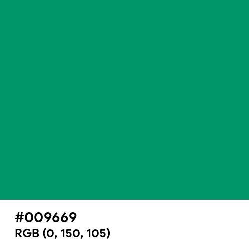 Permanent Green (Hex code: 009669) Thumbnail