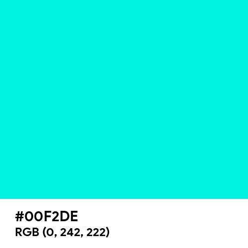 Neon Blue-Green (Hex code: 00F2DE) Thumbnail
