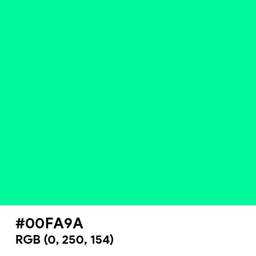 Medium Spring Green (Hex code: 00FA9A) Thumbnail