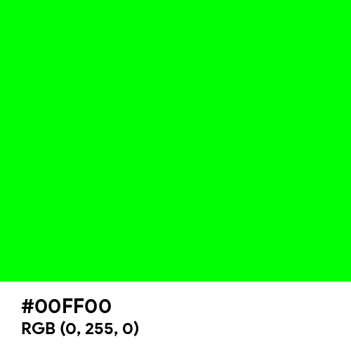 Electric Green (Hex code: 00FF00) Thumbnail