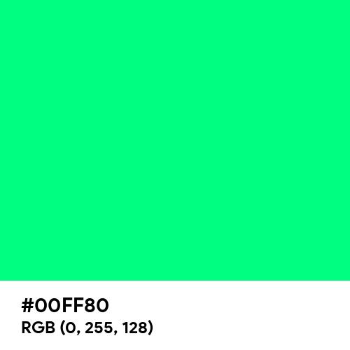 Guppie Green (Hex code: 00FF80) Thumbnail