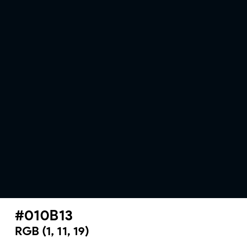 Rich Black (Hex code: 010B13) Thumbnail