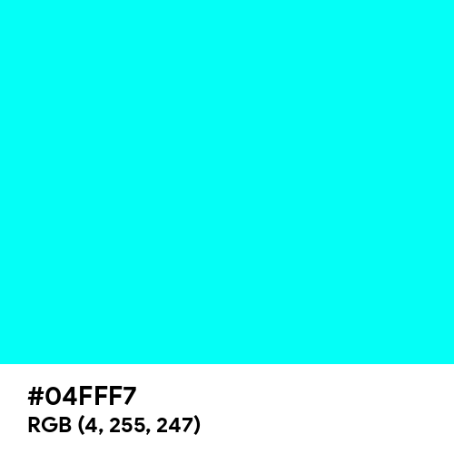 Neon Turquoise (Hex code: 04FFF7) Thumbnail