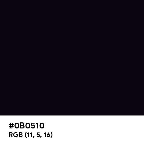 Black Magic (Hex code: 0B0510) Thumbnail