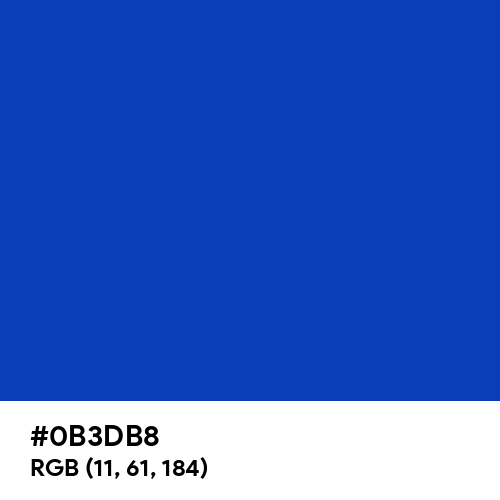 Absolute Zero (Crayola) (Hex code: 0B3DB8) Thumbnail