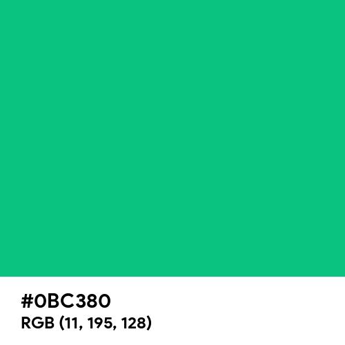 Caribbean Green (Hex code: 0BC380) Thumbnail