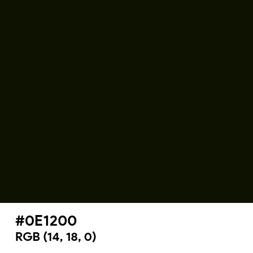 Smoky Black (Hex code: 0E1200) Thumbnail