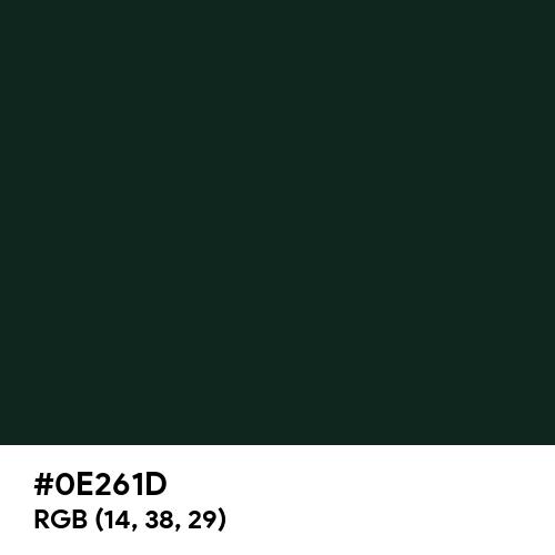 Dark Jungle Green (Hex code: 0E261D) Thumbnail
