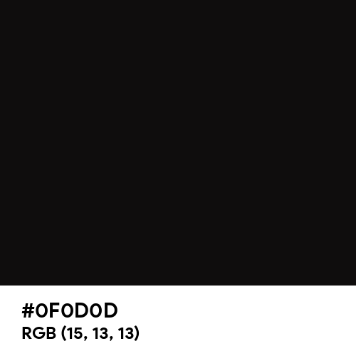 Soot Black (Hex code: 0F0D0D) Thumbnail