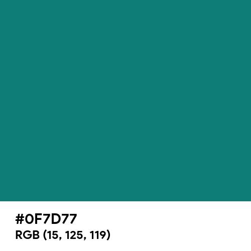 Dark Aquamarine Blue (Hex code: 0F7D77) Thumbnail