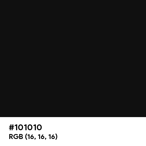 Chinese Black (Hex code: 101010) Thumbnail