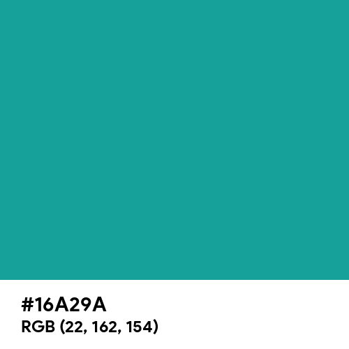 Ceramic Blue Turquoise (Hex code: 16A29A) Thumbnail