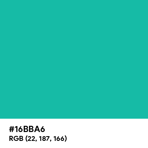 Light Sea Green (Hex code: 16BBA6) Thumbnail