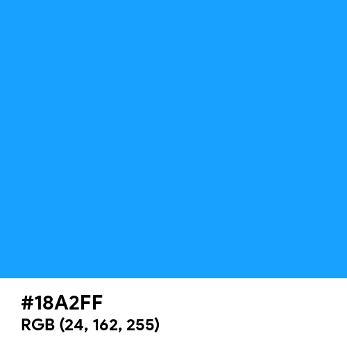 Dodger Blue (Hex code: 18A2FF) Thumbnail