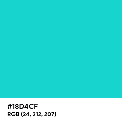Dark Turquoise (Hex code: 18D4CF) Thumbnail