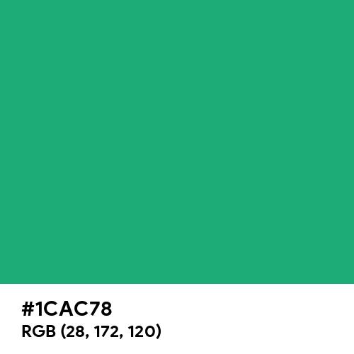 Green (Crayola) (Hex code: 1CAC78) Thumbnail