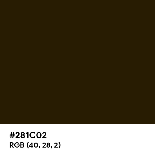 Black Gold (Hex code: 281C02) Thumbnail