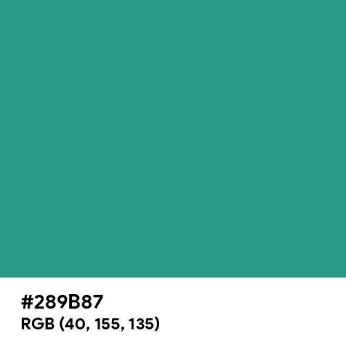 Jungle Green (Hex code: 289B87) Thumbnail