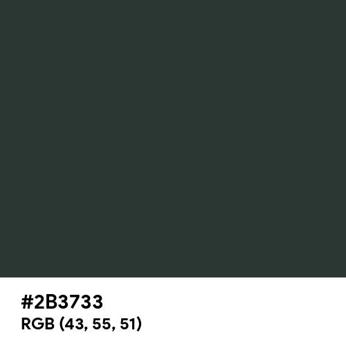 鉄色 (Tetsu-iro) (Hex code: 2B3733) Thumbnail