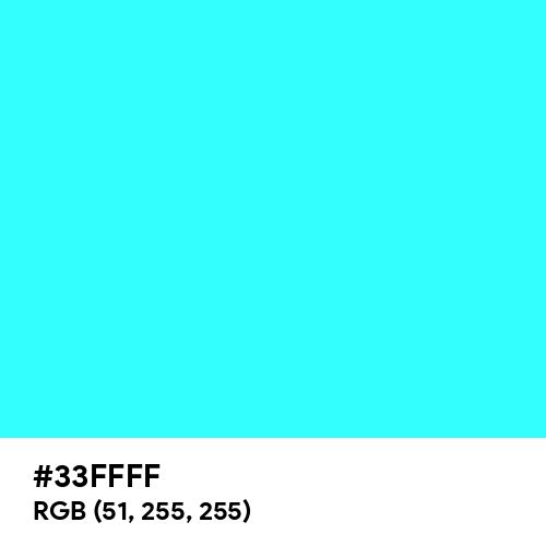 Fluorescent Blue (Hex code: 33FFFF) Thumbnail