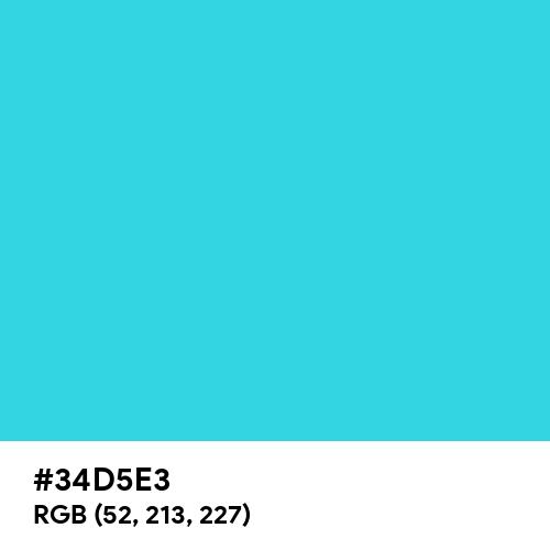 Turquoise (Hex code: 34D5E3) Thumbnail