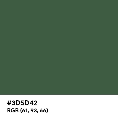 木賊色 (Tokusa-iro) (Hex code: 3D5D42) Thumbnail