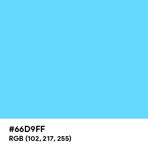 Sky Blue (Crayola) (Hex code: 66D9FF) Thumbnail