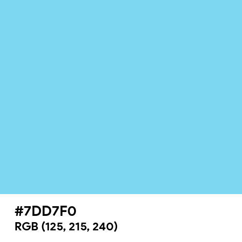 Medium Sky Blue (Hex code: 7DD7F0) Thumbnail