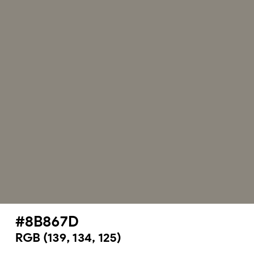 Middle Grey (Hex code: 8B867D) Thumbnail