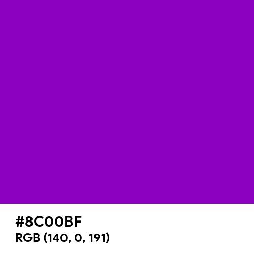 Pure Purple (Hex code: 8C00BF) Thumbnail