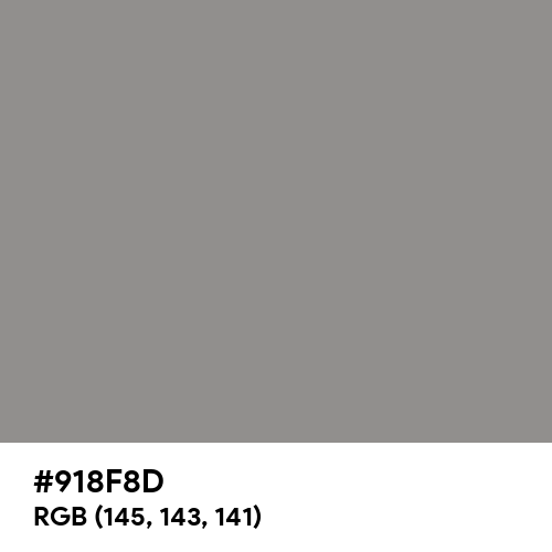 Philippine Gray (Hex code: 918F8D) Thumbnail