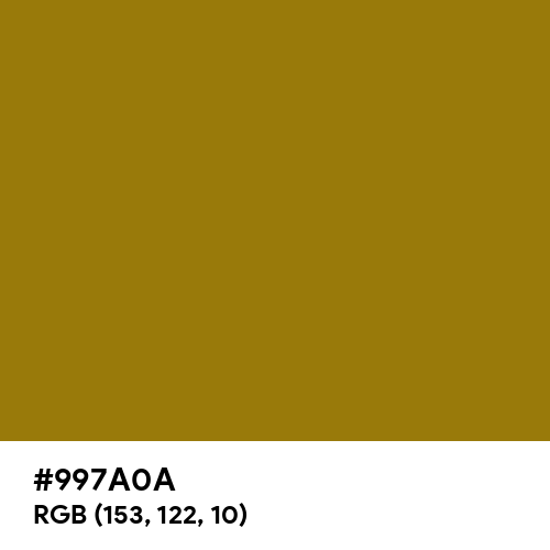 Dark Yellow (Hex code: 997A0A) Thumbnail