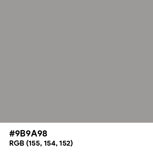 Spanish Gray (Hex code: 9B9A98) Thumbnail