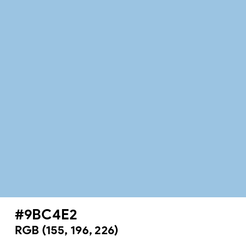 Pale Cerulean (Hex code: 9BC4E2) Thumbnail