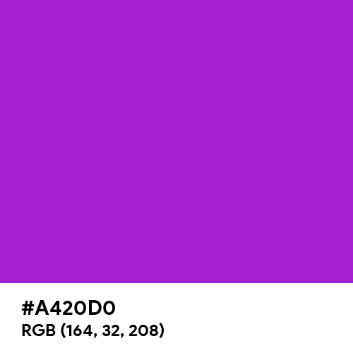 Hot Purple (Hex code: A420D0) Thumbnail