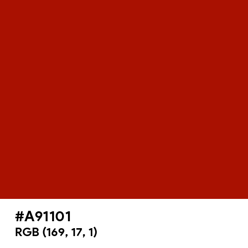 Turkey Red (Hex code: A91101) Thumbnail