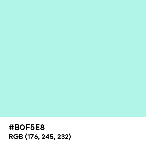Pale Blue (Hex code: B0F5E8) Thumbnail