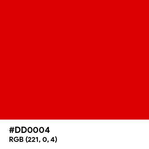 Glossy Red (Hex code: DD0004) Thumbnail