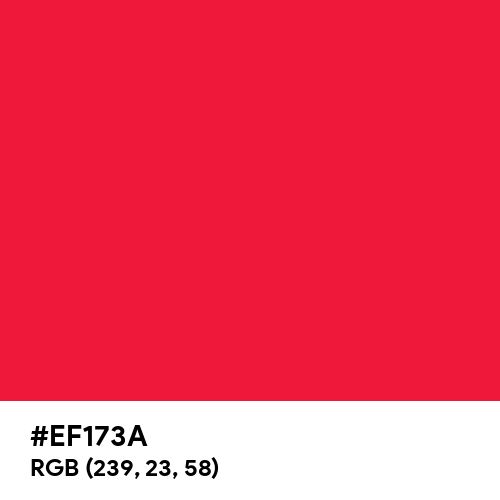 Red Scarlet (Ferrario) (Hex code: EF173A) Thumbnail