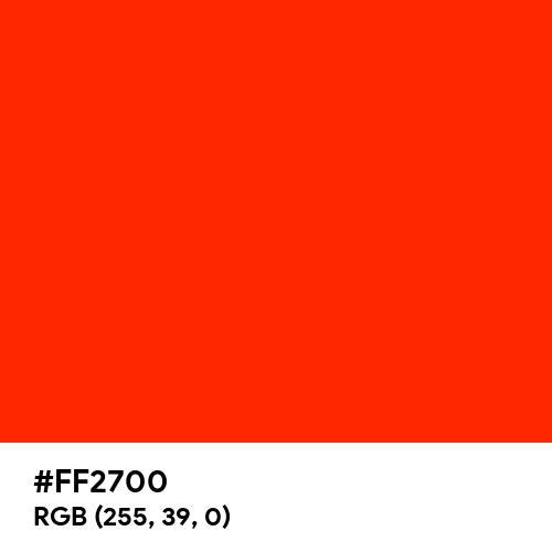 Scarlet (Hex code: FF2700) Thumbnail