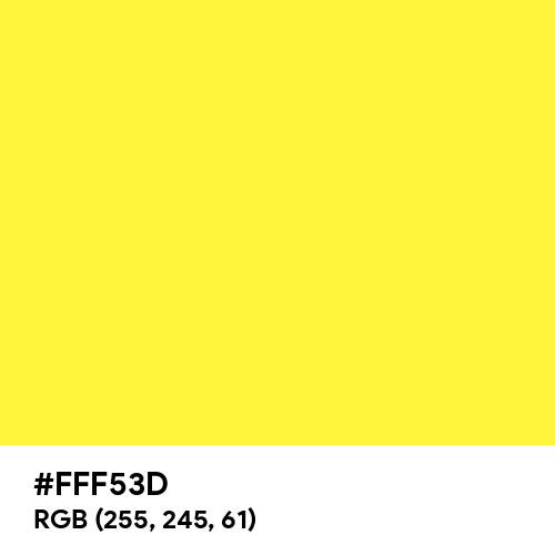 Psychedelic Yellow (Hex code: FFF53D) Thumbnail