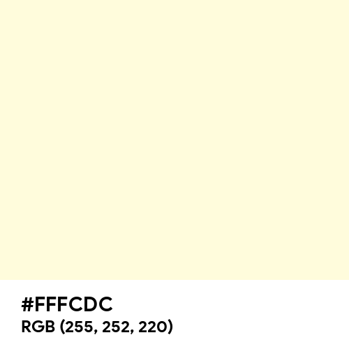 Cornsilk (Hex code: FFFCDC) Thumbnail