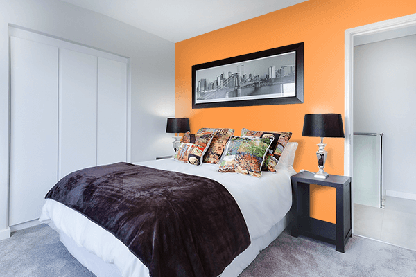 Pretty Photo frame on Lucky Orange color Bedroom interior wall color