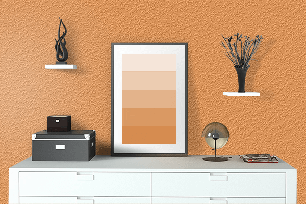 Pretty Photo frame on Lucky Orange color drawing room interior textured wall