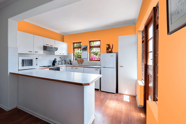 Pretty Photo frame on Lucky Orange color kitchen interior wall color