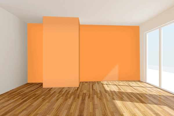 Pretty Photo frame on Lucky Orange color Living room wal color