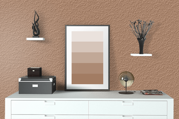 Pretty Photo frame on Cognac Brown color drawing room interior textured wall